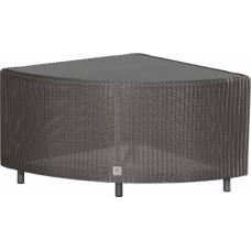 4 Seasons Outdoor Aspen modular hoek tafel met glas - Polyloom Titanium
