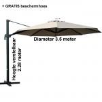 Zweefparasol - taupe diameter 3.5 m