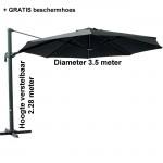 Zweefparasol - zwart diameter 3.5 m